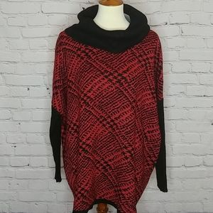 🆑RED & BLACK COWL NECK SWEATER